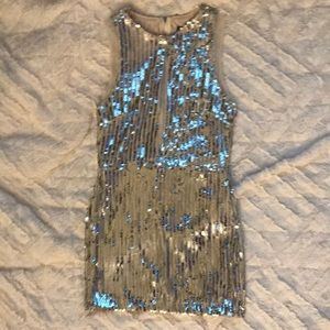 Gianni Bini Silver Sequin Mini Sheath Dress